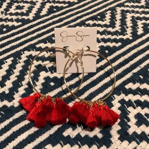 Jessica Simpson gold hoops red tassels NWT